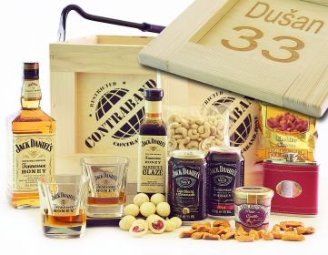 Dárková bedna pro muže Jack Daniel's Honey Contraband dárek pro whiskaře bedna s páčidlem