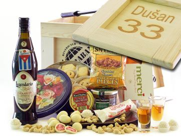 Dárková bedna pro muže Legendario Elixir de Cuba Contraband dárek pro rumaře bedna s páčidlem