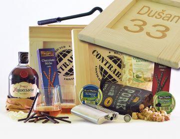 Dárková bedna pro muže Pampero Aniversario Contraband dárek pro rumaře bedna s páčidlem